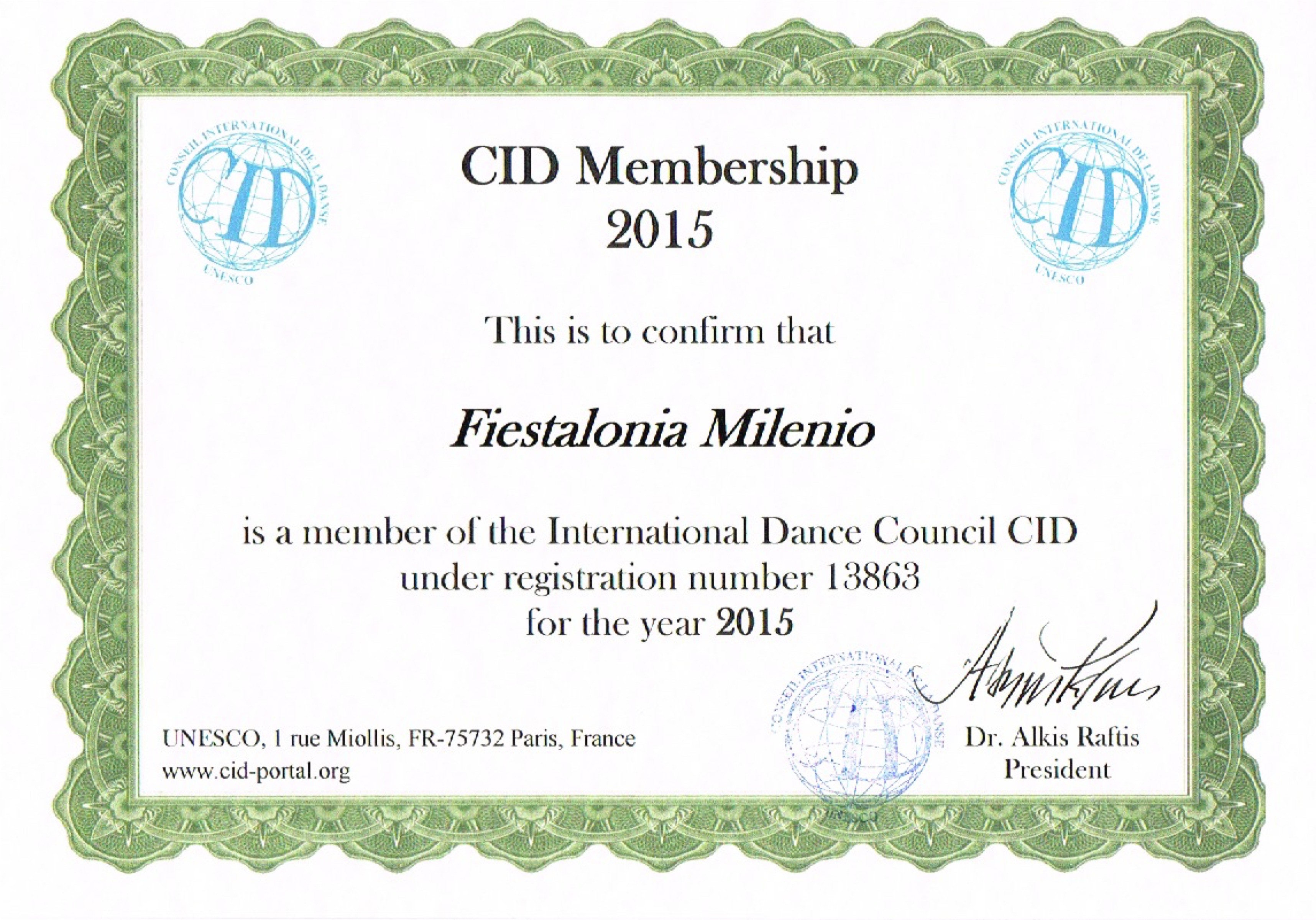 Сертификат CID UNESCO, International Federation For Choral Music
